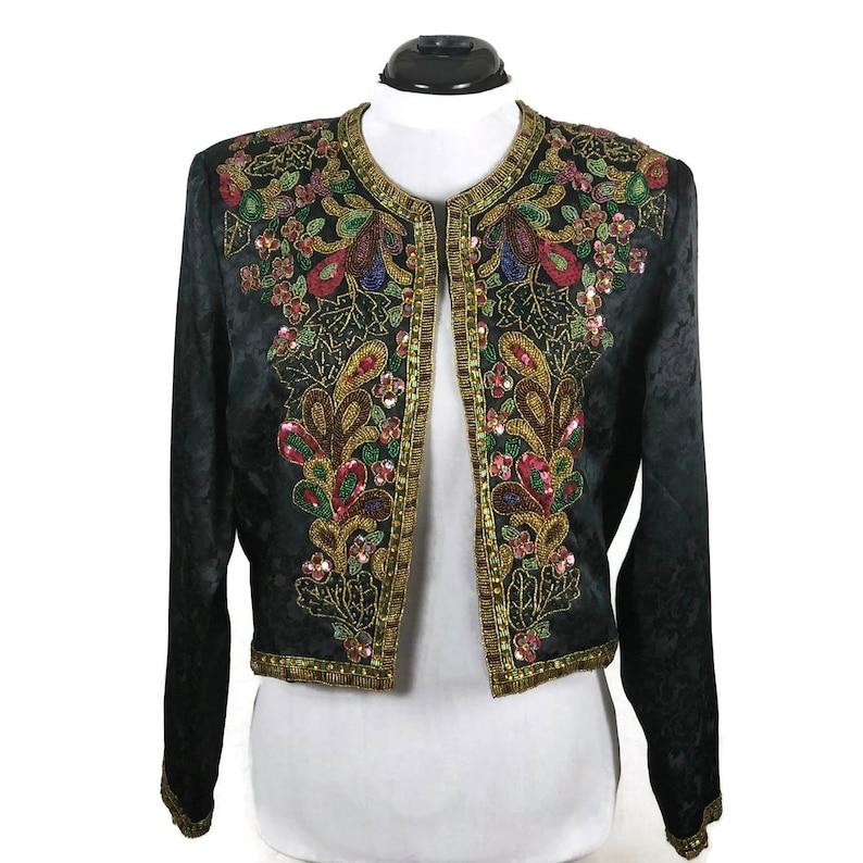 RARE Vintage Victoria/'s Secret Beaded Black Satin Jacket SMALL