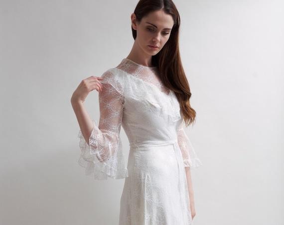 Vintage 1970's full length lace wedding dress