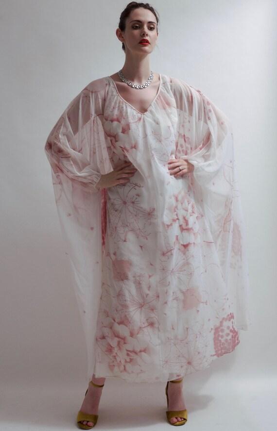 Vintage 1970's  boho chiffon kaftan gown