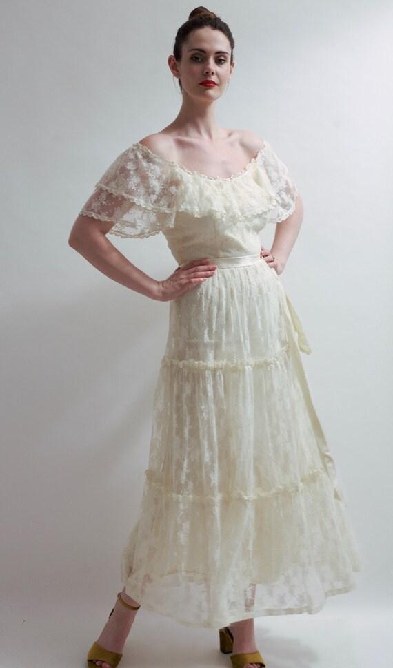 Vintage 1970's designer lace wedding dress