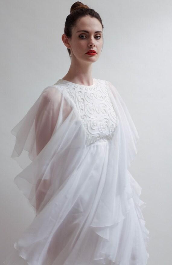 Vintage boho Chiffon 1970's wedding dress