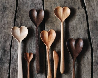 Wooden Heart Spoons | Love Spoon | Hand Carved Heart Spoon | Handmade Cooking & Serving Spoon | Love Spoon | Kitchen Utensil | Dreamware