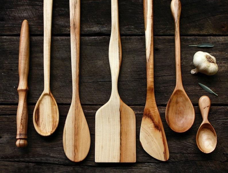 Admirable Wooden Kitchen Utensil Set Handcrafted Wood Spoons Handmade Kitchen Tool Set 7 Piece Kitchen Set American Made Spatula Dreamware Download Free Architecture Designs Grimeyleaguecom