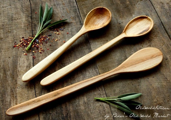 Handcrafted Wooden Spoon Set   Handmade Wood Serving Spoon   Cooking Spoons    American Made Kitchen Utensils   Dreamware
