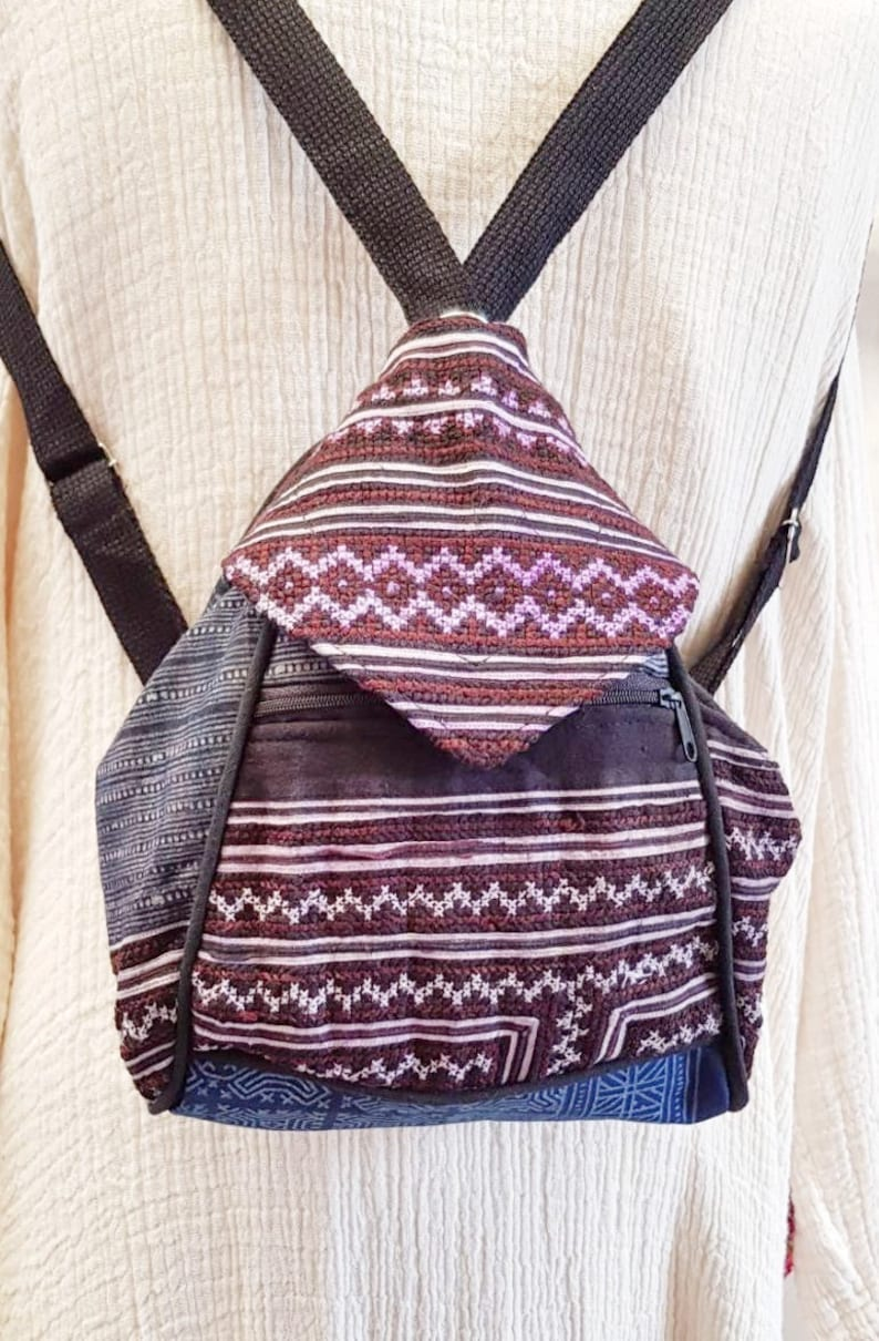 Hmong Backpack Bags Hill Tribe Shoulder Bags Hobo Purple Color Embroidered Fabric Unique Handmade Hippie Bohemian Gipsy Stylish Handbags