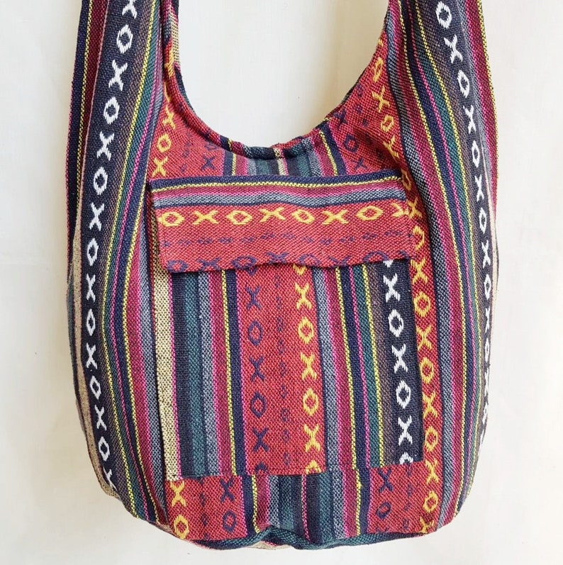 d9320c31e19f Thai Handmade Yam Shoulder Bag Hippie Boho Sling Crossbody Bag Naga Cotton  Multi Color Unisex Bohemian Hand Embroidered fabric Ethnic style
