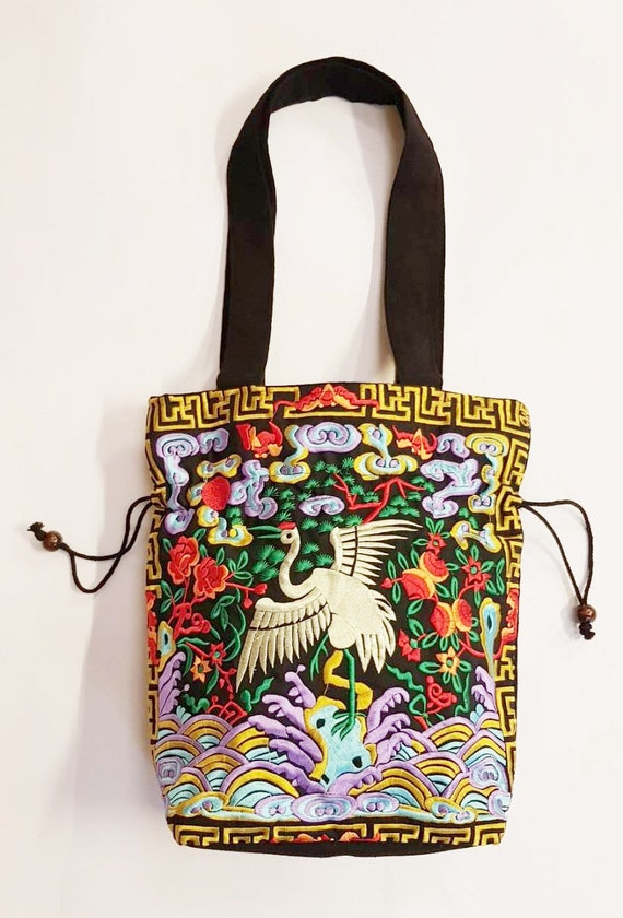 Flamingo Embroidered Bags Hippie Hmong Fabric Tote Shoulder  f797fe6bf0ee9