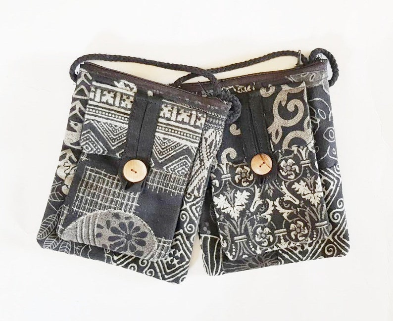 39d53eeb4422 2 Pcs Black And White Handmade Patchwork Cotton Fabric Unique Crossbody Bag  Handbags Passport Bag Hippie Boho Style Purse Gipsy Perfect Gift