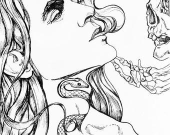 Art Print from Original Ink Drawing - In Danger