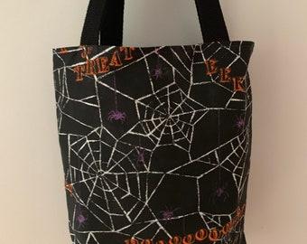 Halloween Spider Web Cotton Reusable Lined Bag