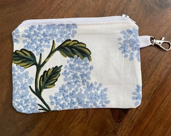 Rifle Paper Co. Meadow Hydrangea Light Blue Cotton Reusable Gift Card Holder  Mini Zippered Pouch with Key Ring