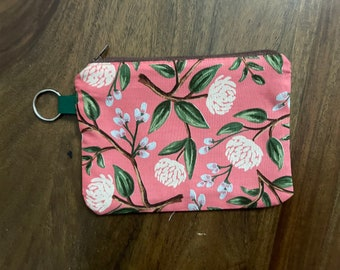 Rifle Paper Co. Wildwood Peonies in Pink Mini Zippered Pouch with Key Ring