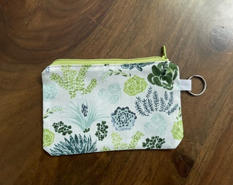 Dear Stella Succulents Gift Card Holder/ Mini Zippered Pouch with Key Ring