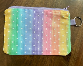 Rainbow Themed Gift Card Holder/ Mini Zippered Pouch with Key Ring