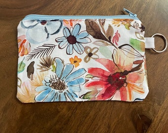 Dear Stella Chiffon Garden in White Floral  Gift Card Holder/ Mini Zippered Pouch with Key Ring