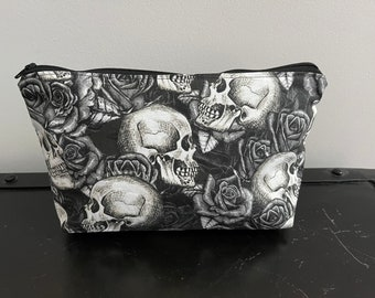 Halloween Sculls and Roses  Zippered Pouch/Pencil Case/Makeup Bag