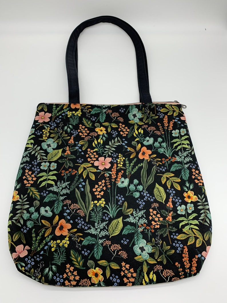 Rifle Paper Co Herb Garden Midnight Canvas Tote Bag with Pink Metallic Zipper