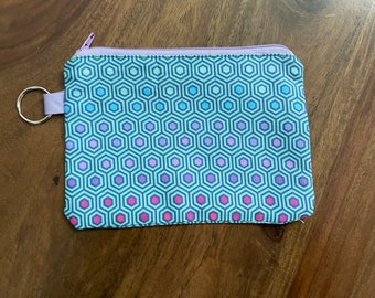Tula Hex Teal Gift Card Holder/ Mini Zippered Pouch with Key Ring