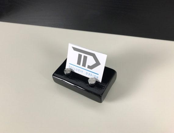 Visitenkarten Aufsteller Visitenkartenständer Büro Office Schreibtisch Holz Schwarz