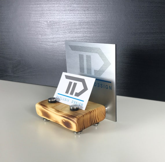 Visitenkarten Aufsteller Mit Digitaldruck Visitenkartenständer Büro Office Schreibtisch Holz Natur Firmenlogo Logo Individuell