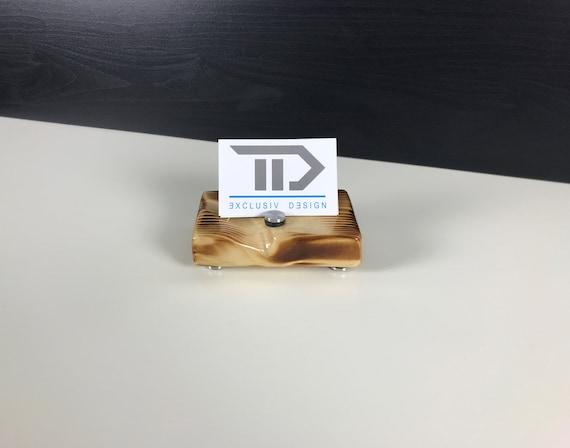 Visitenkarten Aufsteller Visitenkartenständer Büro Office Schreibtisch Holz Natur