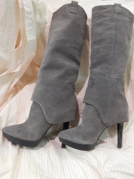 New grey High knee suede boots | Etsy