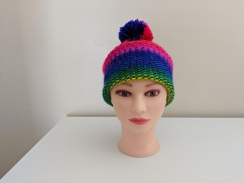 Rainbow Hat with Pom Pom