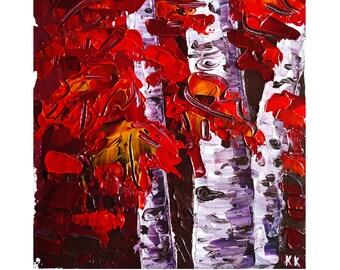 Fall Painting Original Artwork Autumn Wall Art 12 by 16 by Oksana Stepanova