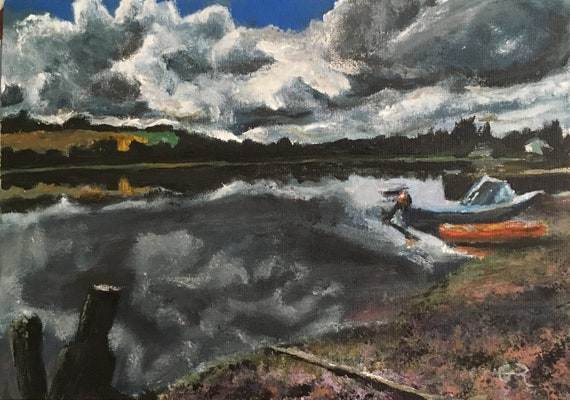 peaceful nautical scene original acrylic painting dark greys and moody blue accents Creekside reflections at Devoran Quay Cornwall