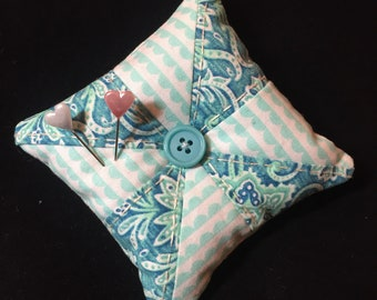 Blue Pinwheel Pincushion