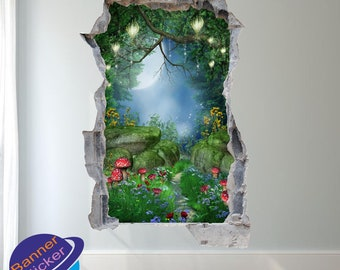 Enchanted Magical Forest Wall Stickers Mural Decal Poster 3d Effect Home  Shop Office Nursery Decor XK0