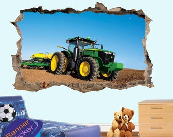 Agricultural Machinery John Deere Tractor Wall Sickers Mural Decal 3d  Effect Home Shop Office Nursery Decor ZO9