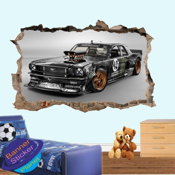 Super Muscle Car Modified Ford Mustang Wall Stickers Mural Etsy