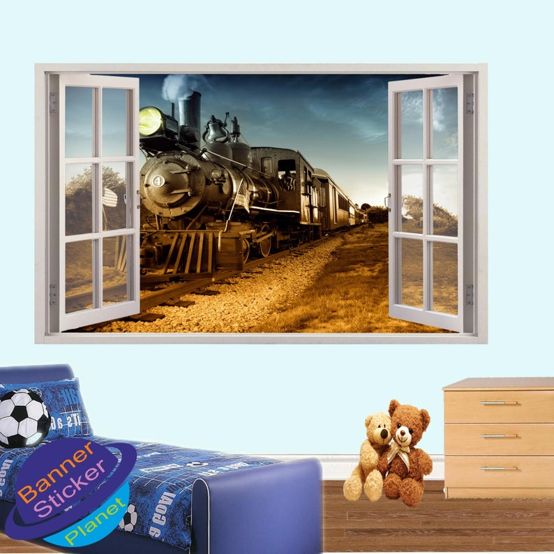 Railway Vintage Steam Train Wall Stickers Mural Decal Poster 3d Effect Home Shop Office Nursery Decor XH9