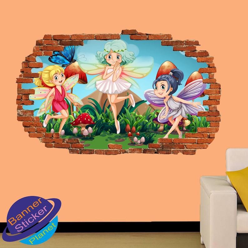 Little Cute Fairies Wall Stickers Mural Decal Poster 3d Effect Home Shop Office Nursery Decor XR4