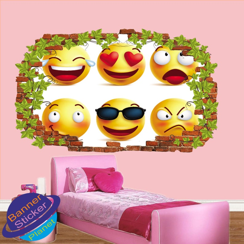 Emojis Ivy Effect Wall Stickers Mural Decal Poster 3d Effect Home Shop Office Nursery Decor XI5
