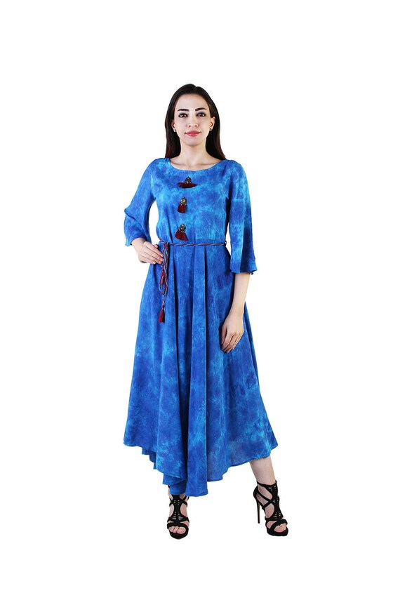 Kurta Kurti Cold Shoulder Anarkali Gown Dress Indian Women Flower Print Rayon