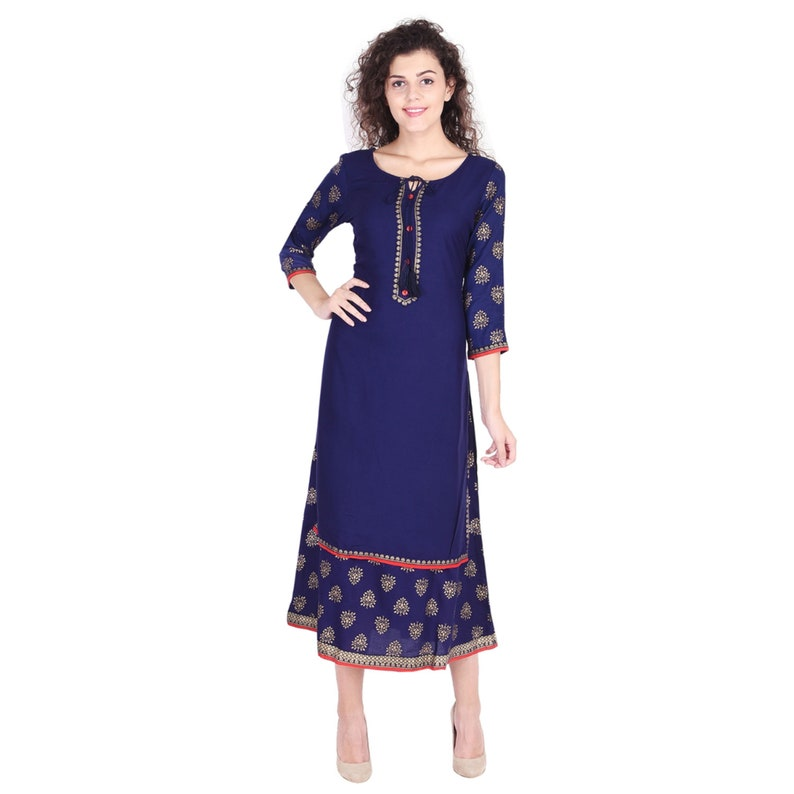 Indian Bollywood Casual Women Royal Blue Buti Gold Printed Embroidered Red Buttons Scoop Neck 34 Sleeves Double Layered Christmas Kurtis
