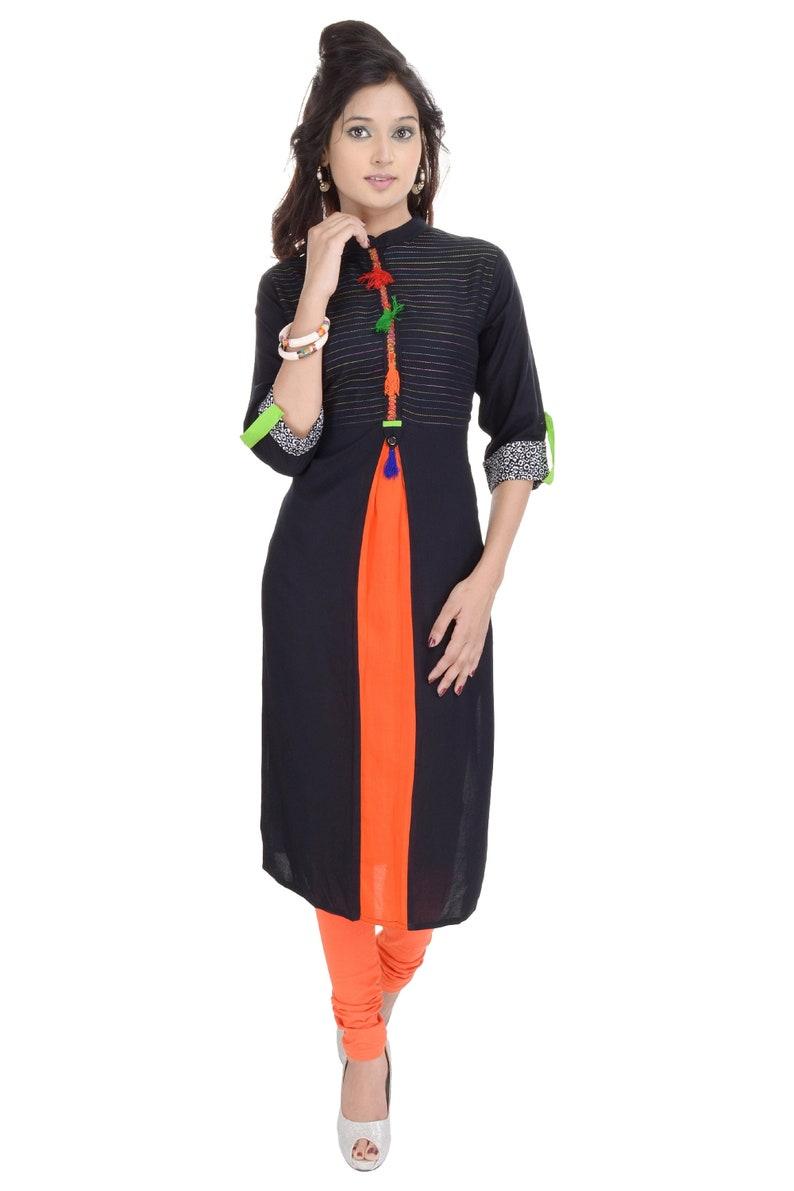 Denika Handicrafts Indian Ethnic Designer Printed Black Kurti tunic tops for women kurti design