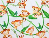 Little Monkey Personalized Blanket, Jungle Stroller Blanket, Tropical Minky Lovey, Safari Animals Nursery Bedding, Neutral Security Blanket