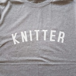 KNITTER T Shirt // Unisex Tee with Knitting Logo // fairtrade organic cotton // gifts for knitters // gifts for crafters // gifts for her
