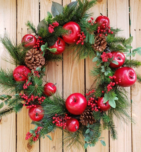 apple wreaths harvest wreath christmas wreath holiday wreath etsy - Christmas Wreaths Etsy