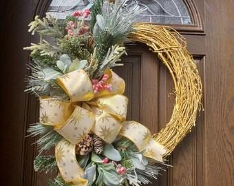 Christmas Wreaths for Front Door Wreath Christmas Gold Wreath Christmas Decor Xmas Wreaths Holiday Wreath Winter Wreath Pine Wreath for Door