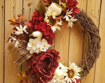 FALL Wreath~Autumn Wreath ~Thanksgiving Wreath~FALL Decor~Harvest Wreath~Pamkin Wreath~Seasonal Wreath~Wreath for Front Door