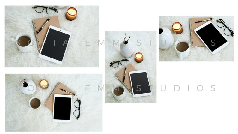Stock Photos for Blogs and Brands Feminine Styled Stock Photos Tablet iPad Mockup Flat Lay Office Stock stock photo
