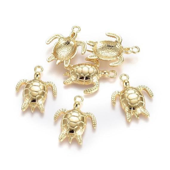 BULK 20 Tortoise pendants antique silver tone FF134