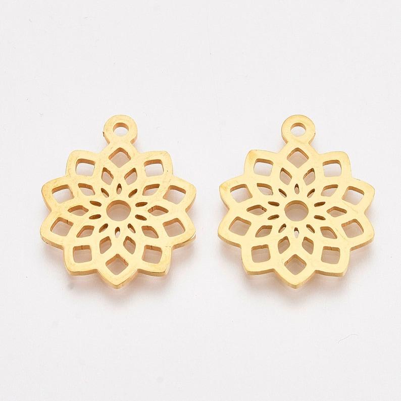 Flower Pendant Gold Flower of Life Pendant 2 per pkg 19x16x1mm