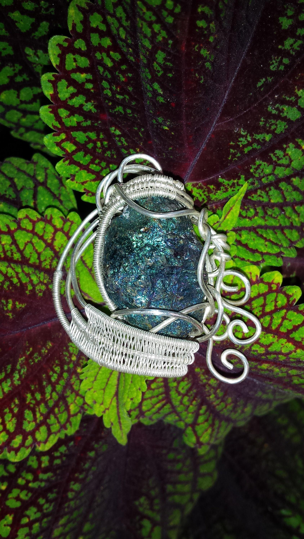 Shimmering Bornite Wire Wrapped Pendant