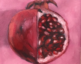 Pretty in Pink Pomegranate fruit Oil painting on canvas