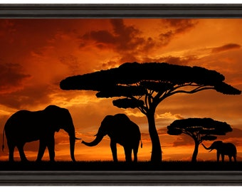 African Sunset Elephant Silhouette Counted Cross Stitch Pattern Instant PDF Download